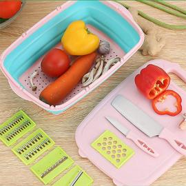 Multi Function Chopping Board Kitchen Board/Food Drainer Basket  Sink Cutting Chopping Blocks and Fruit Washing Bowl