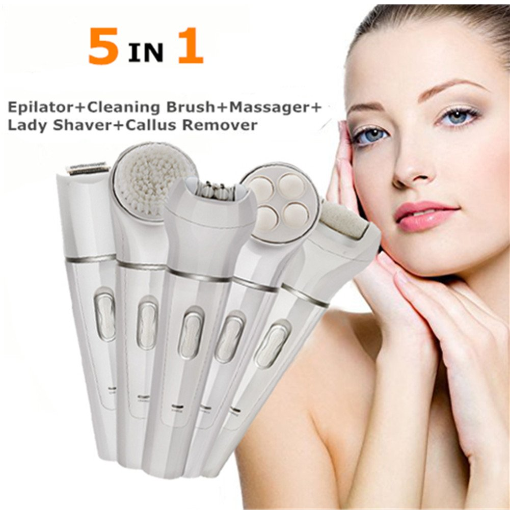 5 in 1 Depilatory Machine Bikini Trimmer Epilator For Woman Face Leg Hair Foot Callus,Wet & Dry Electric Hair Removal Epilator
