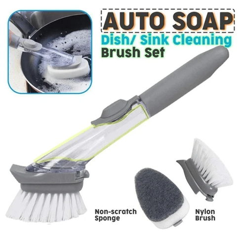 Kitchen Cleaning Brush with Soap Handle Dishwasher Brush,Long Handle Automatic Soap Dispensing Dish Brush Cleaning Brush
